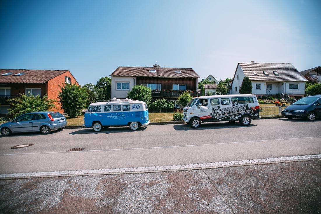 Hochzeitsauto VW-Bus und Shootingwagon