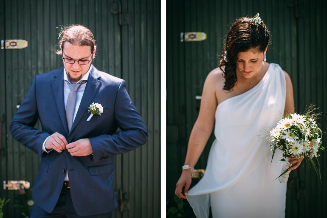 braut und bräutigam vor bauwagen