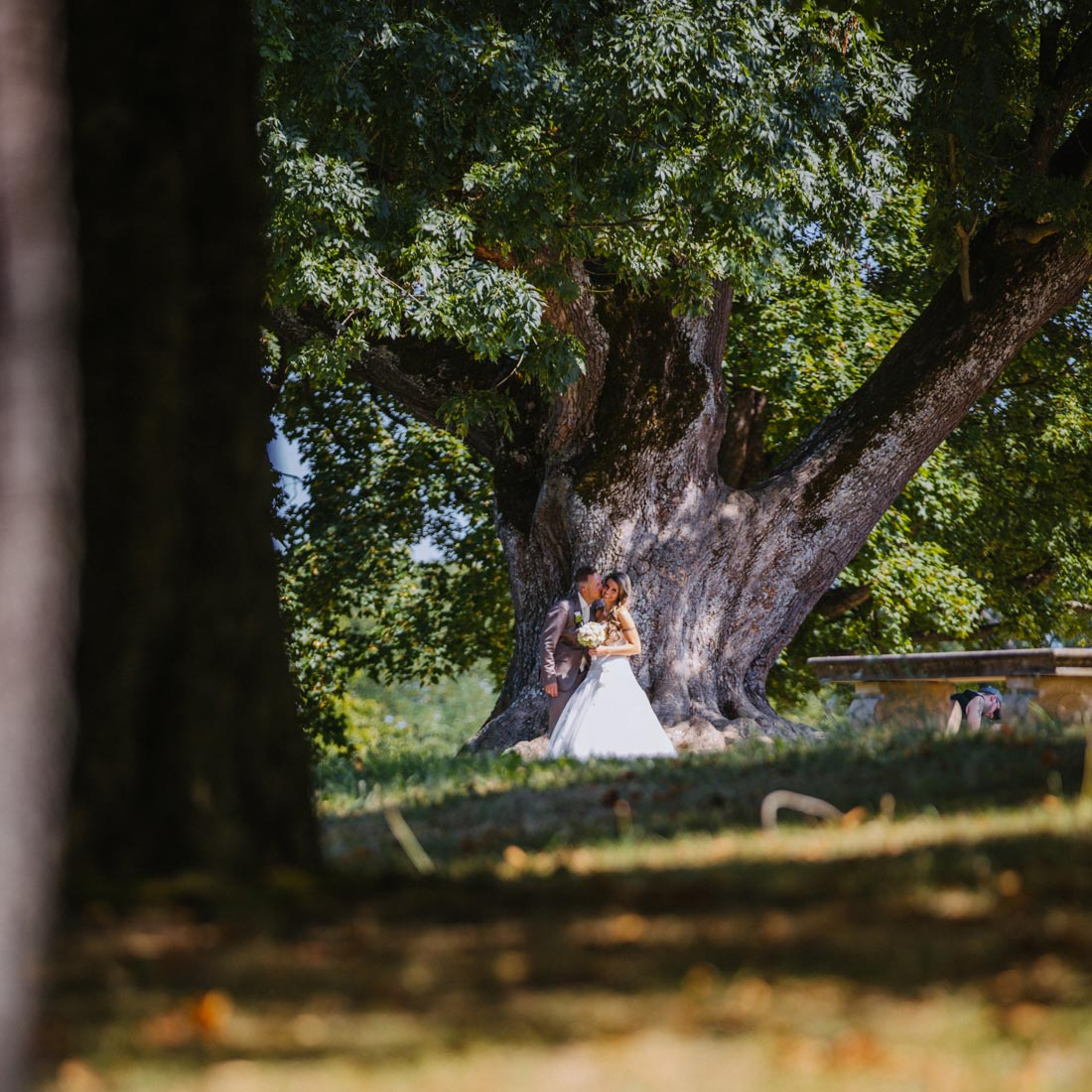 Paar lehnt an einem großen Baum