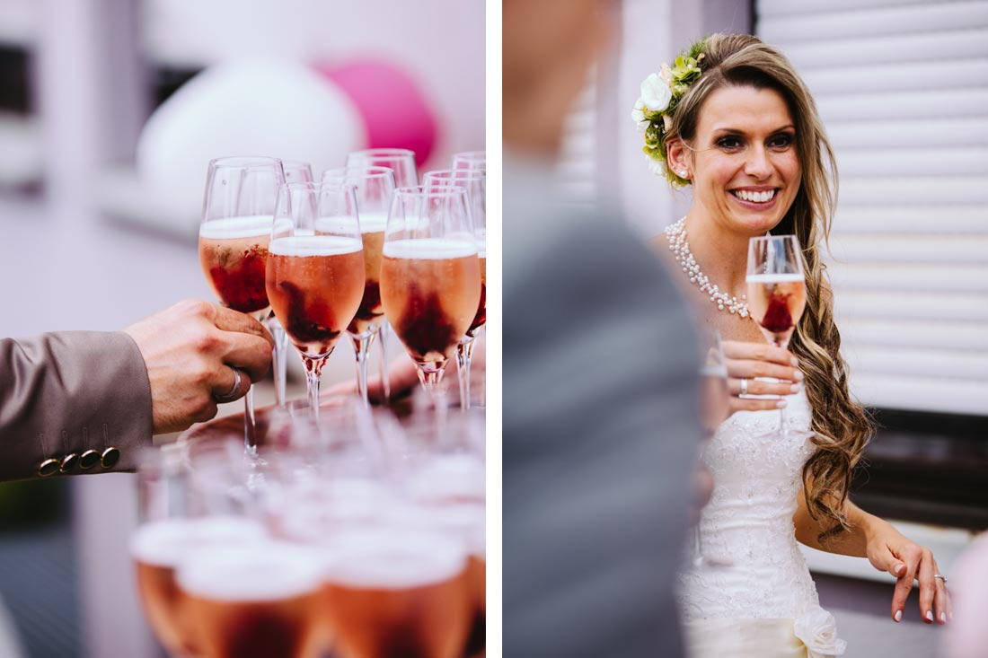 sektempfang Hochzeit fotografie