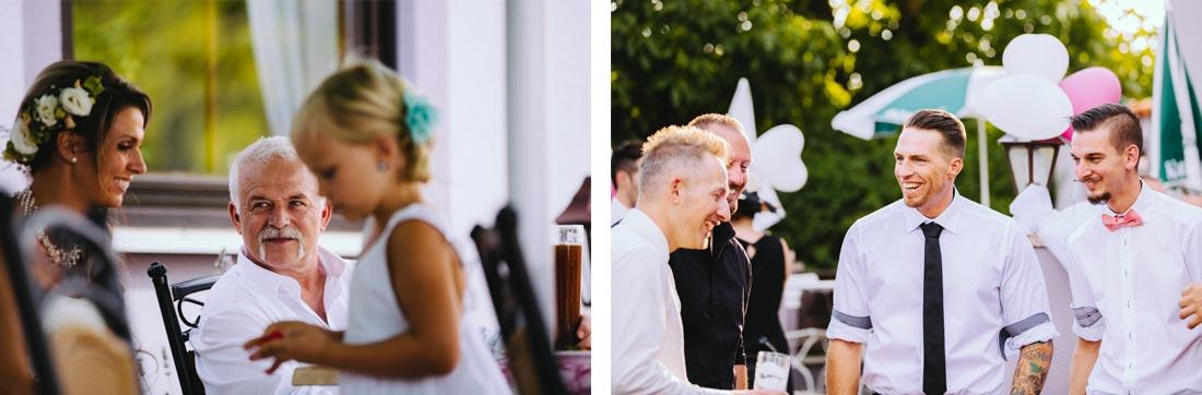 gut gelaunte Hochzeitsgäste