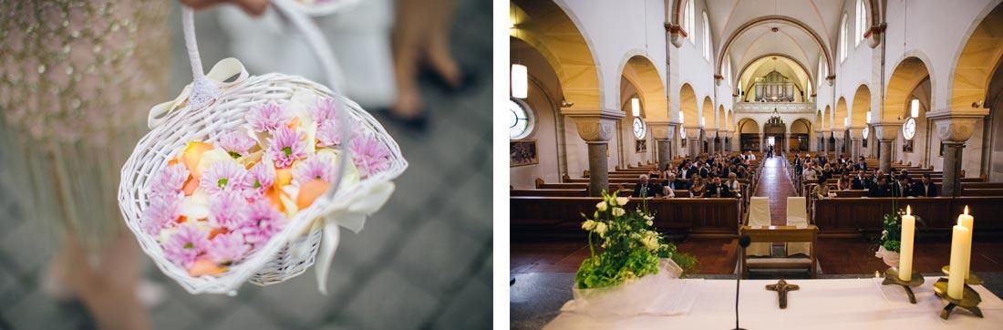blumenkorb und die kirche