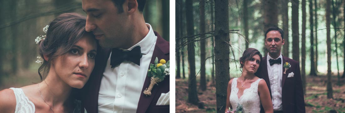 Brautpaar im dunklen Wald