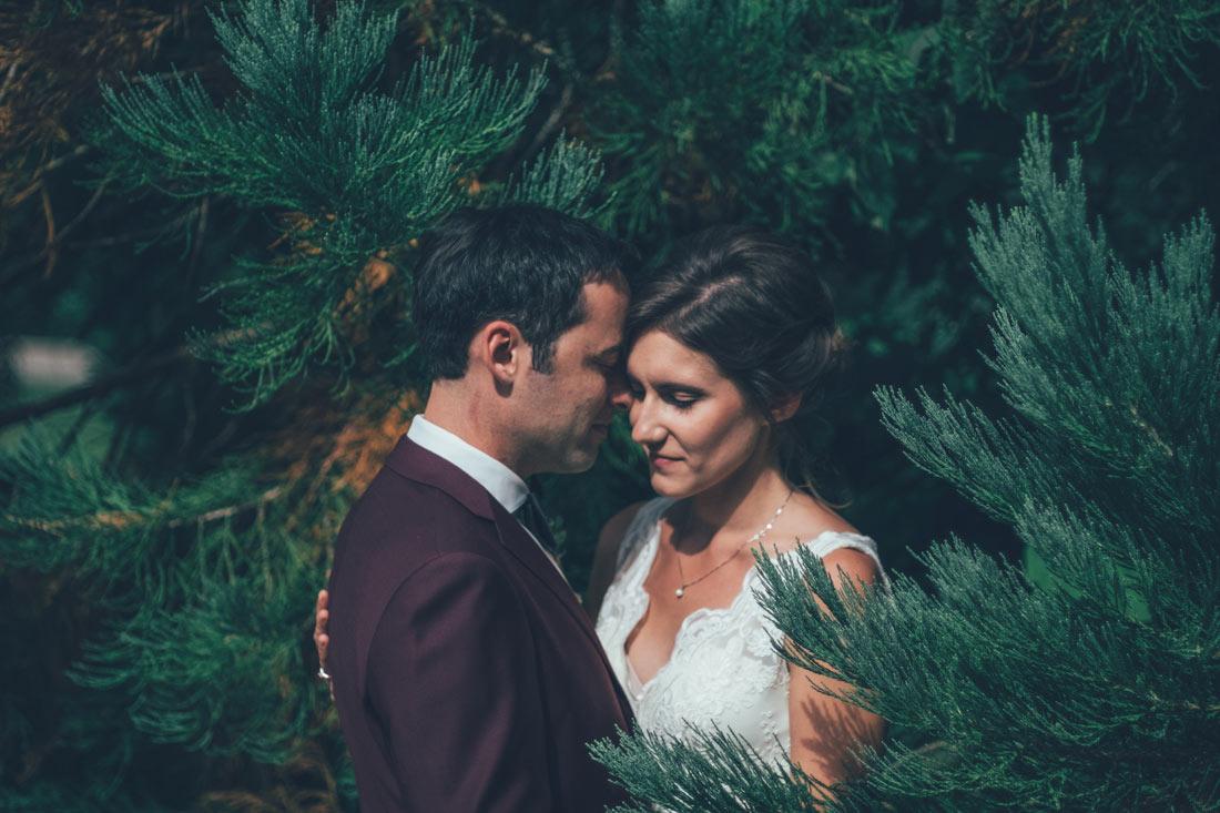 Hochzeitspaar zwischen Zweigen