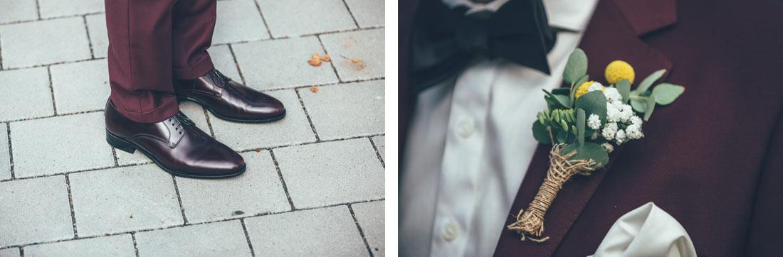 Schuhe und Blumenschmuck