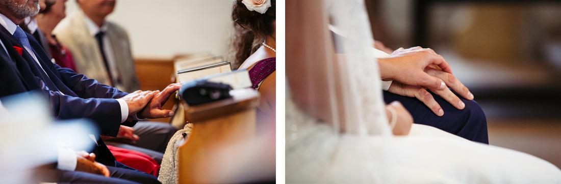 Hochzeitspaar hält seine Hände