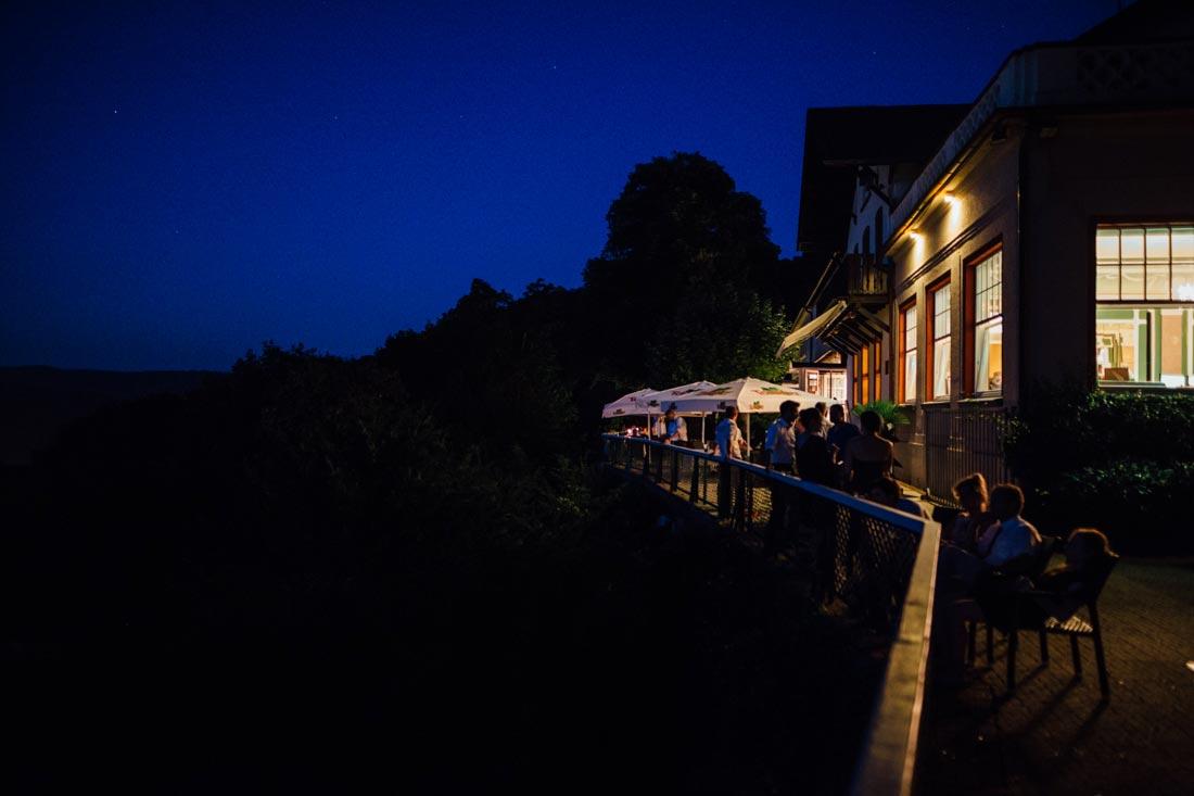 Terrasse Hotel Molkenkur bei Nacht