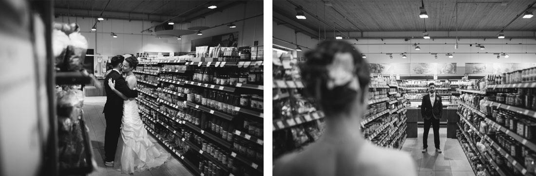 Schwarzweiss Hochzeitsfotos im Supermarkt
