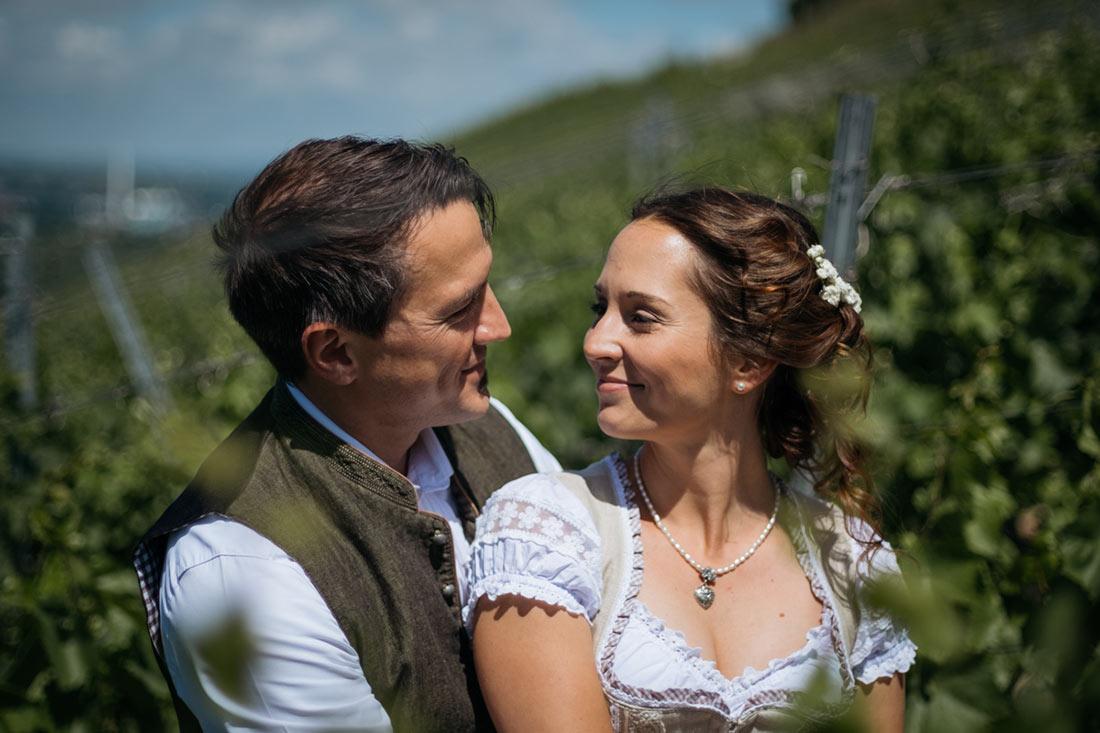 Hochzeitspaar schaut sich in den Weinbergen an