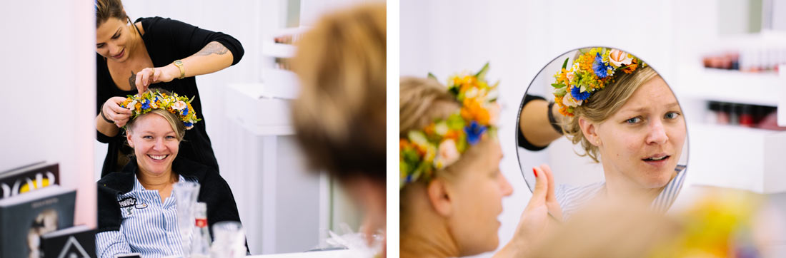 Die Braut freut sich über das Ergebnis