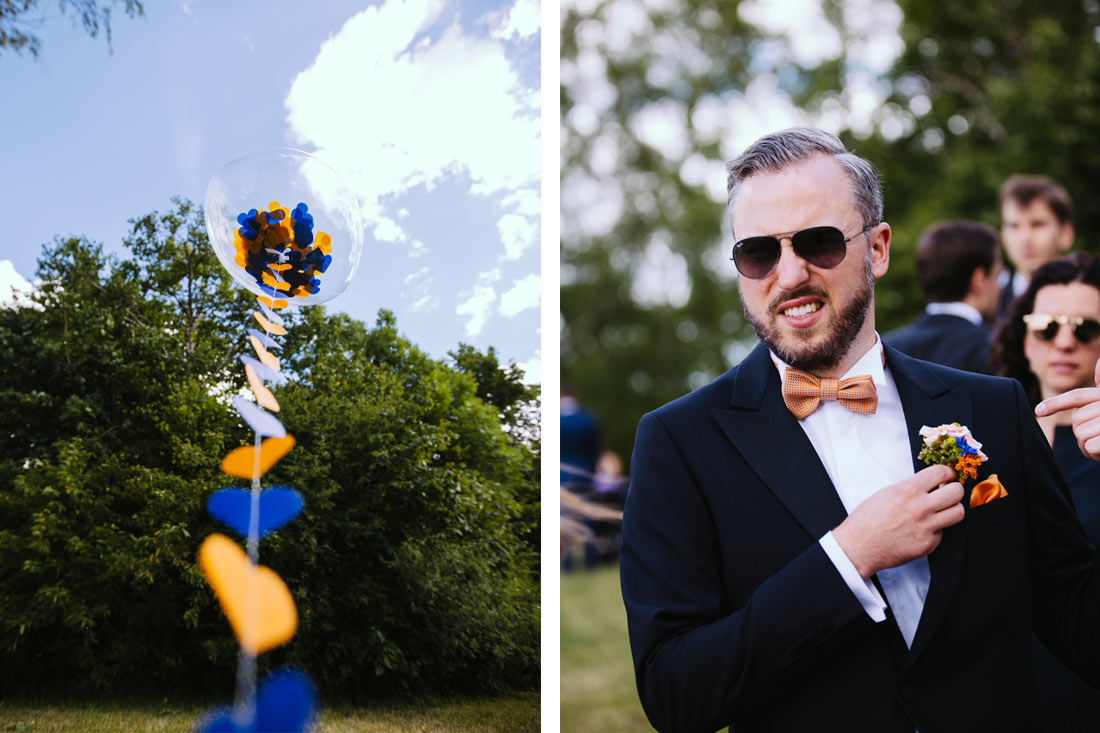 Bräutigam und sein Blumenschmuck