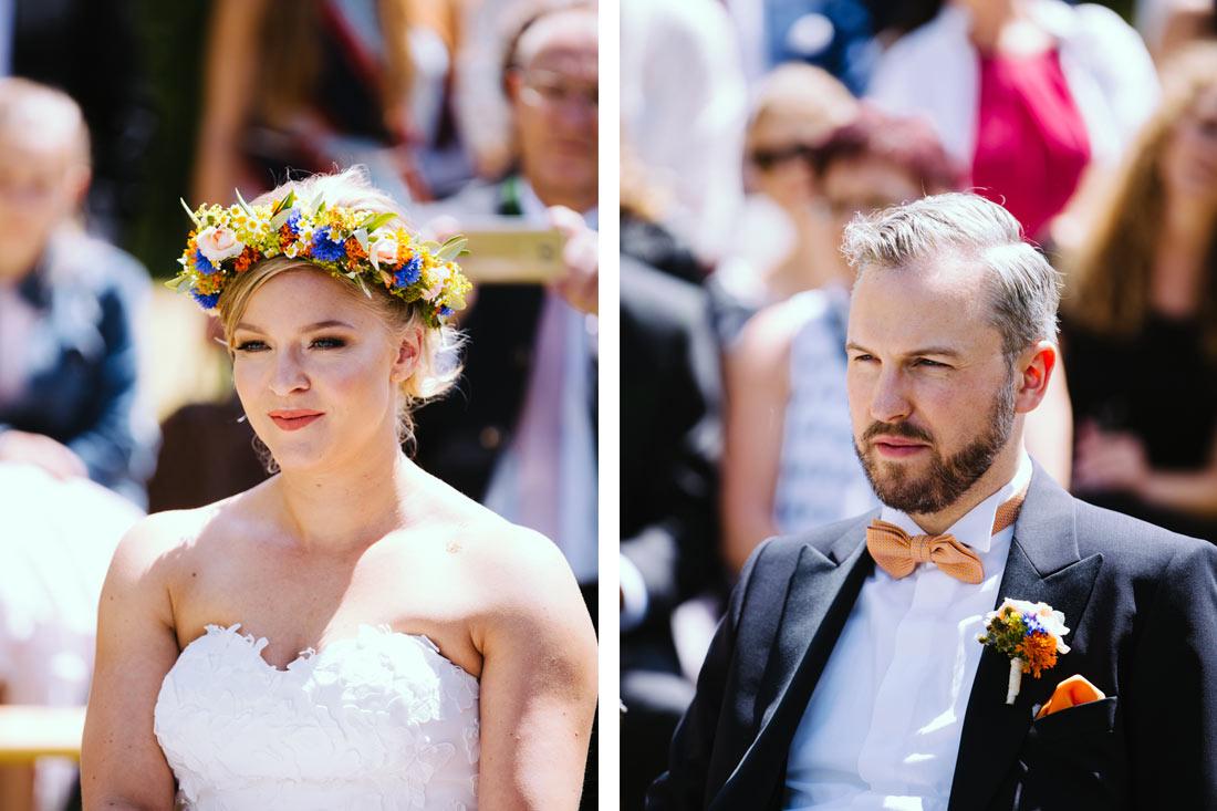 Portraits während der Trauung des Paars