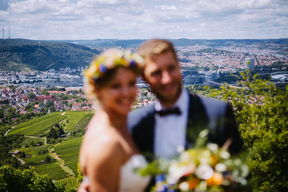 Blick Auf Stuttgart Mit Paar Im Vordergrund