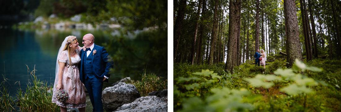 Hochzeitspaar im Wald am Eibsee