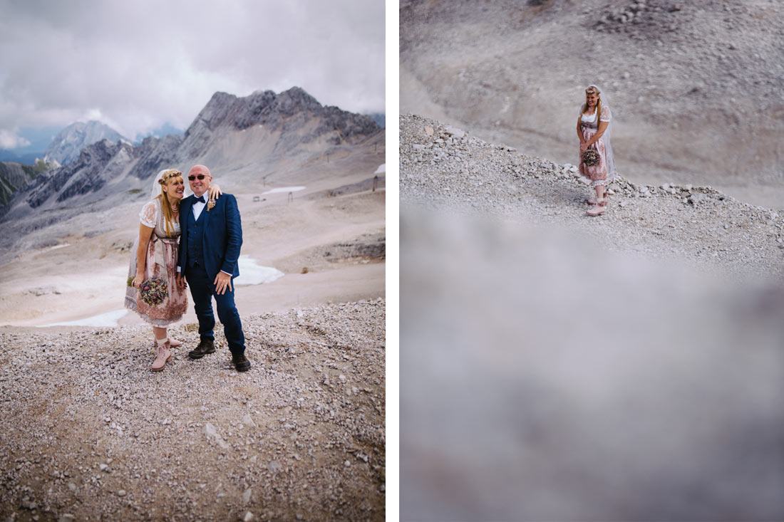 Die Braut steht auf dem Berg
