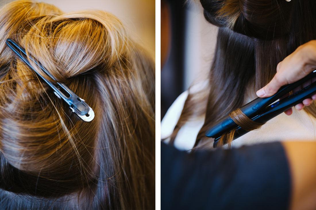 Lockenstab und Haarklammer