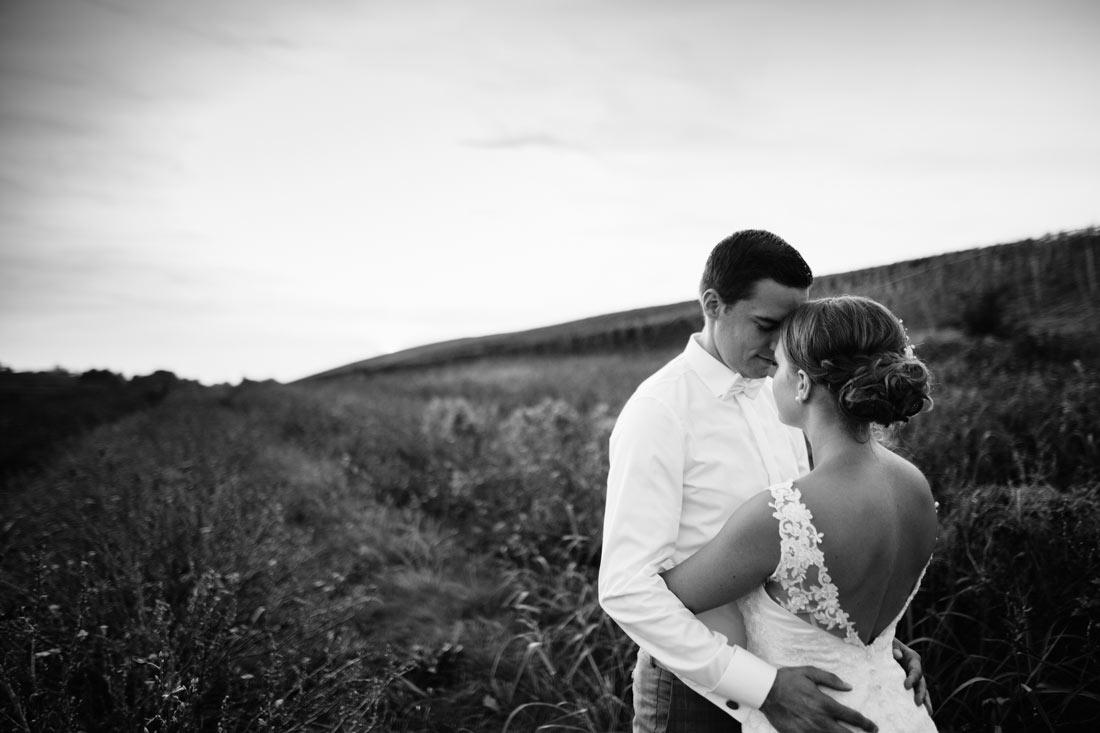 Hochzeitsfoto auf einem Feld