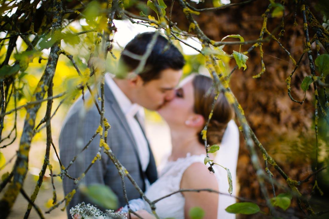 Hochzeitspaar küsst sich unter einem Baum