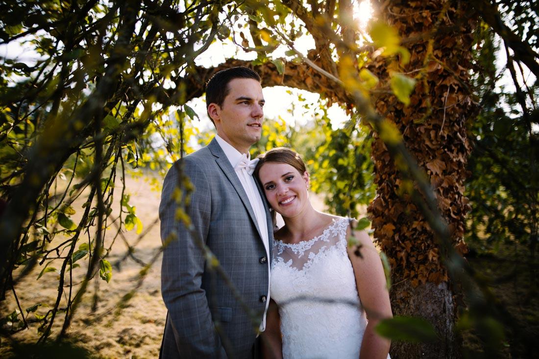 Hochzeitspaar unter einem Apfelbaum