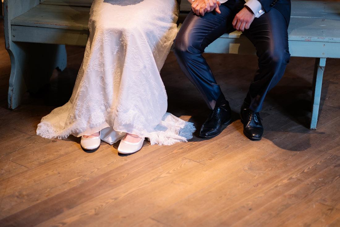 Beine des Brautpaars