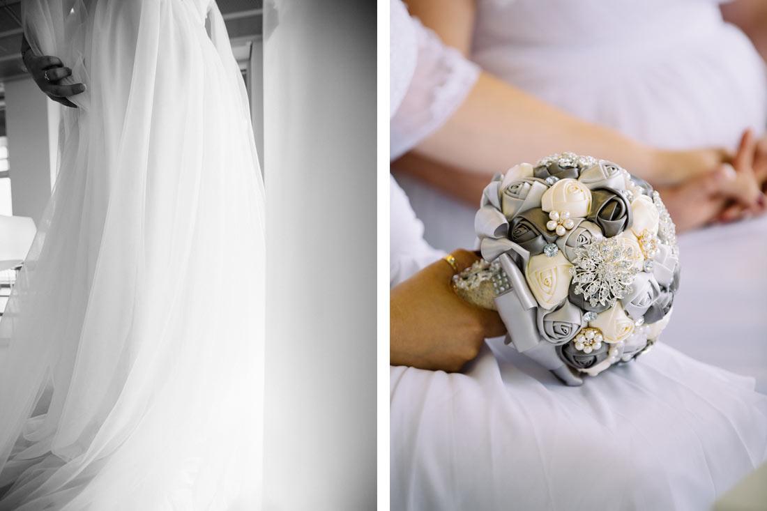 Hochzeitsstrauß in der Hand der Braut