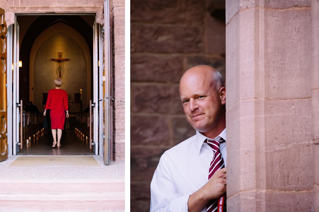 Frau im roten Kleid