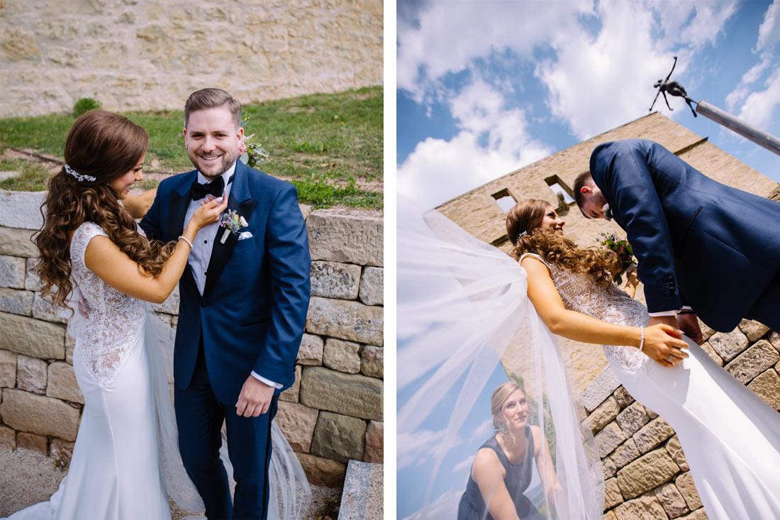Braut schaut sich die Fliege an
