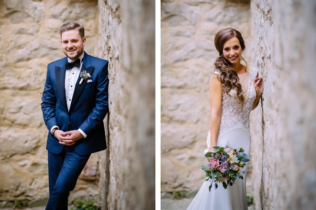 Einzelbilder des Paars in der Burg