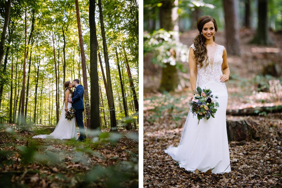 Portrait der Braut im Wald