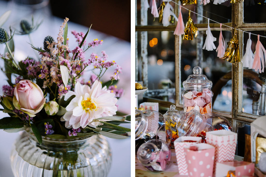 Blumen und Candy Bar