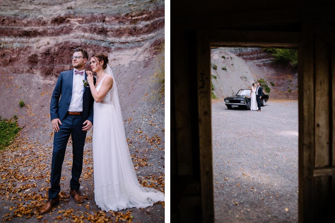 Cooles Hochzeitsfoto im Steinbruch