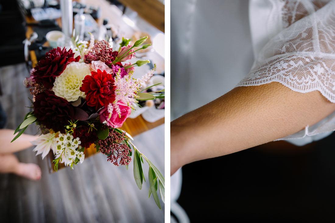 Brautstrauss auf dem Tisch