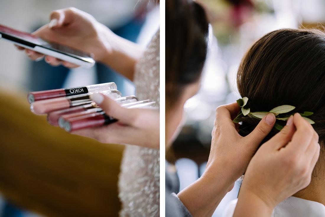 Make-up und Haarschmuck
