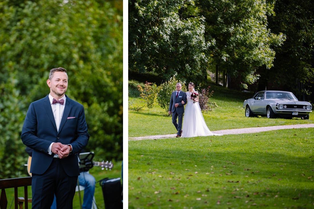Braut läuft zur Trauung