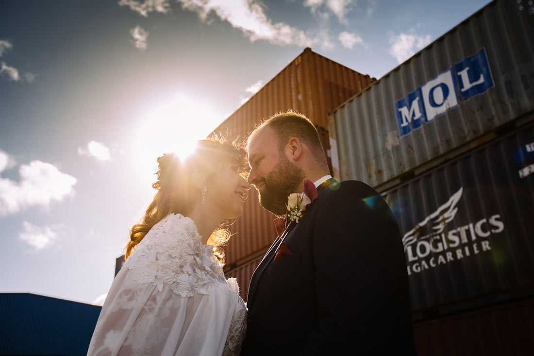 Container und Sonne